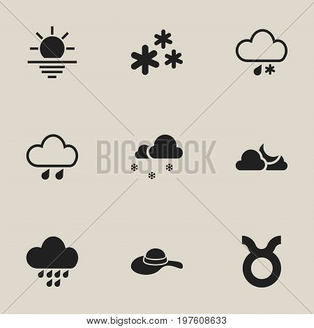 Set Of 9 Editable Weather Icons. Includes Symbols Such As Rainstorm, Precipitation, Bull And More