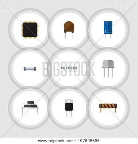 Flat Icon Device Set Of Bobbin, Resistor, Triode And Other Vector Objects