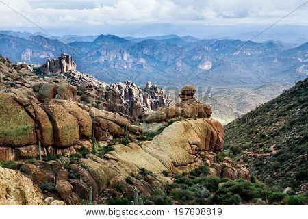 Landscape in Arizona at trailhead Peralta Tonto National Forest USA. Mountains concept