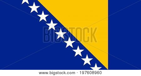 Flag design. Bosnia Herzegovinan flag on the white background isolated flat layout for your designs. Vector illustration.