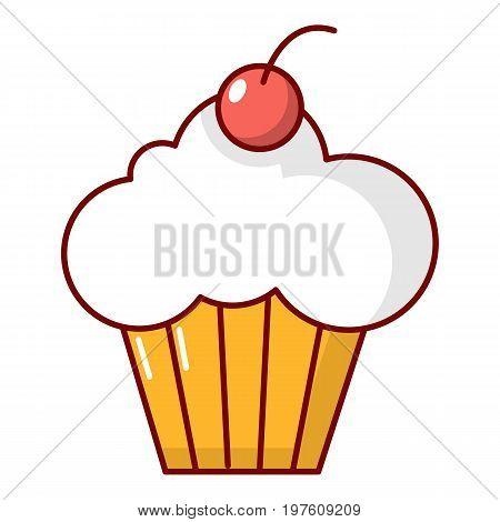 Sweet cupcake icon. Cartoon illustration of sweet cupcake vector icon for web design