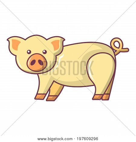 Cute pig icon. Cartoon illustration of cute pig vector icon for web design
