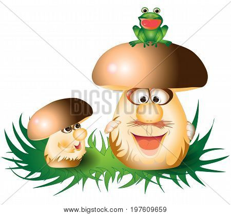 Cartoon funny mushrooms and frog on a grass
