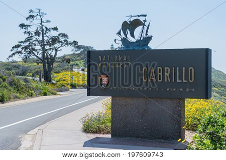 March 31 2017: Point Loma United States: Cabrillo National Monument Sign