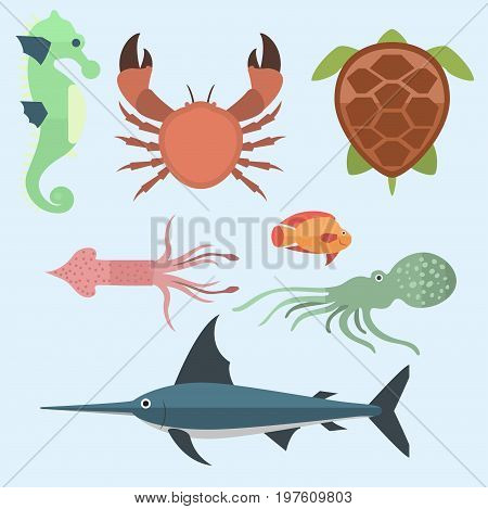 Vector set of cute sea animals creatures characters. Cartoon ocean underwater aquarium life water collection graphic aquatic tropical beasts