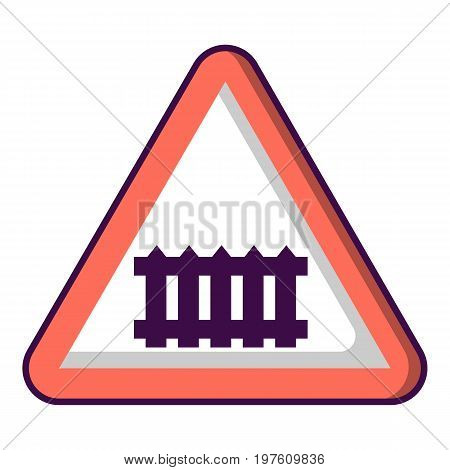 Crossing railroad barrier icon. Cartoon illustration of crossing railroad barrier vector icon for web design