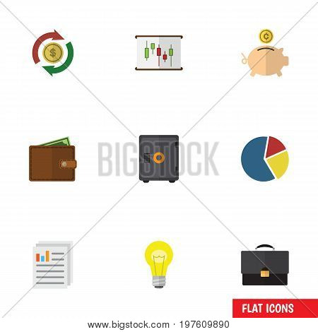 Flat Icon Gain Set Of Diagram, Graph, Bubl And Other Vector Objects
