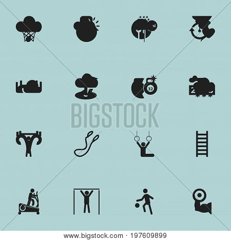Set Of 16 Editable Lifestyle Icons. Includes Symbols Such As Flag, Street Workout, Weightlifting And More