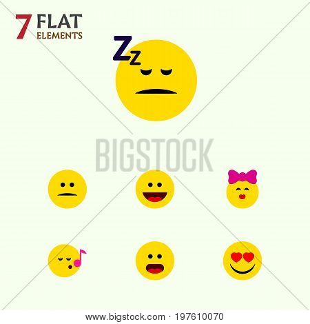 Flat Icon Expression Set Of Descant, Love, Displeased And Other Vector Objects