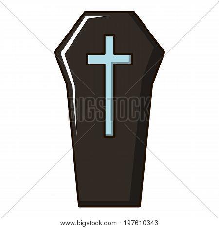 Coffin icon. Cartoon illustration of coffin vector icon for web design