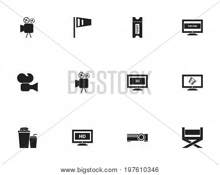 Set Of 12 Editable Movie Icons. Includes Symbols Such As Tripod, Drink, Camcorder And More