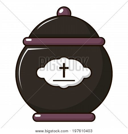 Funeral urn icon. Cartoon illustration of funeral urn vector icon for web design