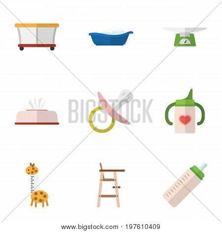 Flat Icon Baby Set Of Nursing Bottle, Tissue, Children Scales And Other Vector Objects