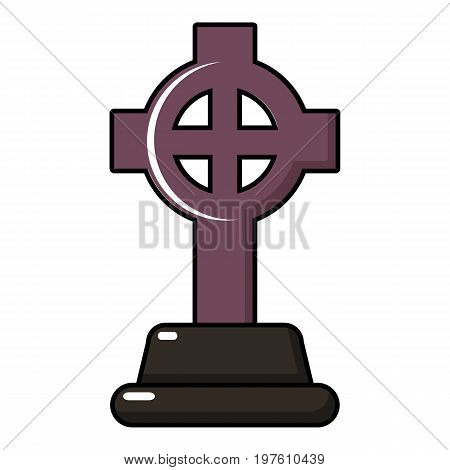Grave cross icon. Cartoon illustration of grave cross vector icon for web design