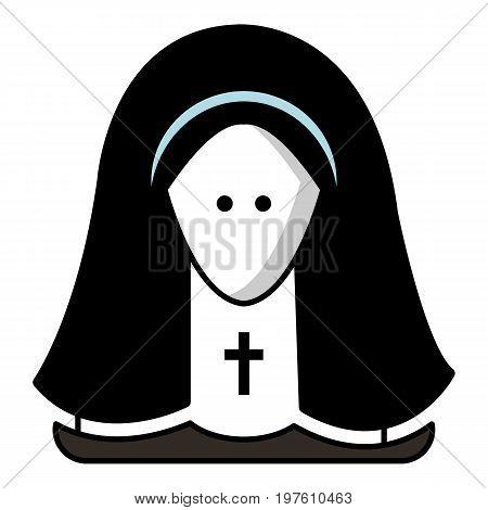 Nun icon. Cartoon illustration of nun vector icon for web design