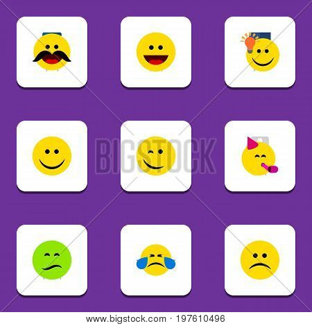 Flat Icon Gesture Set Of Laugh, Party Time Emoticon, Have An Good Opinion And Other Vector Objects