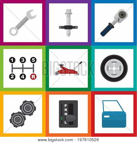 Flat Icon Workshop Set Of Ratchet, Tire, Automobile Part And Other Vector Objects