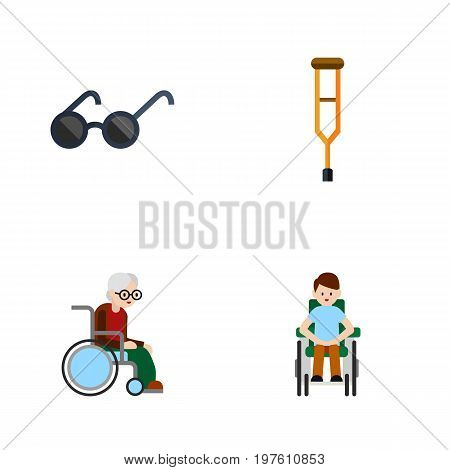 Flat Icon Cripple Set Of Stand, Wheelchair, Spectacles Vector Objects