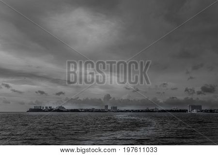 Seascape Of The Ocean Under Cloudy Sky