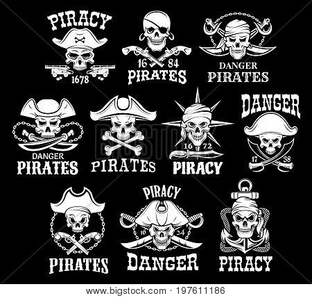 Jolly Roger skulls or pirate skeleton head icons on black flag background. Vector isolated piracy symbols of captain skull in tricorn sailor hat, crossed bones, swords or sabers and anchors