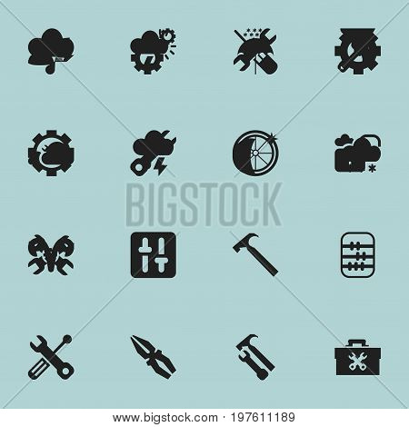 Set Of 16 Editable Toolkit Icons. Includes Symbols Such As Tyre, Wrench, Fix Tool And More