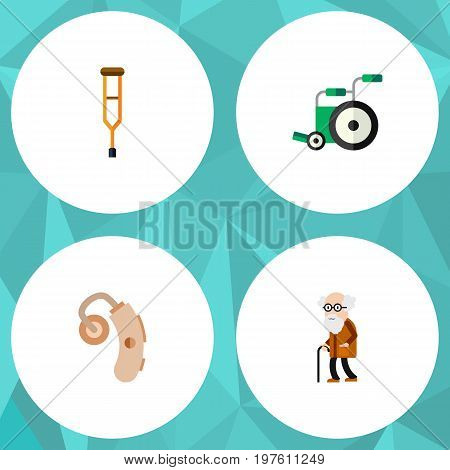 Flat Icon Disabled Set Of Equipment, Stand, Ancestor Vector Objects