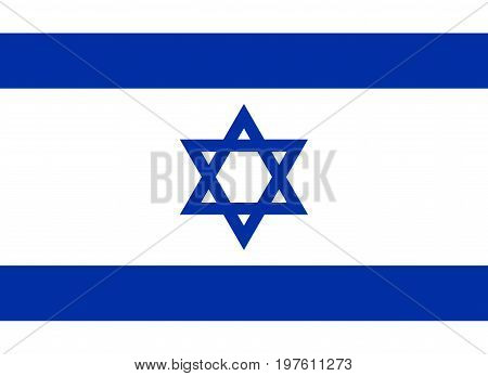 Flag design. Israeli flag on the white background isolated flat layout for your designs. Vector illustration.