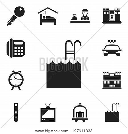 Set Of 12 Editable Hotel Icons. Includes Symbols Such As Unblock Access, Pool, Door Closed And More