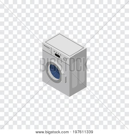 Laundry Vector Element Can Be Used For Washing, Machine, Laundry Design Concept.  Isolated Washing Machine Isometric.
