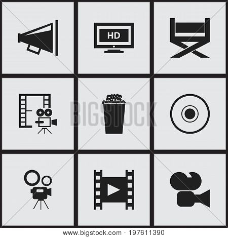 Set Of 9 Editable Cinema Icons. Includes Symbols Such As Loudspeaker, Compact Disk, Popcorn And More