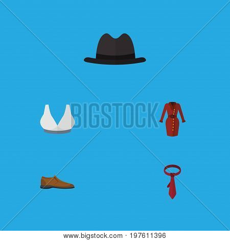 Flat Icon Dress Set Of Male Footware, Cravat, Brasserie And Other Vector Objects
