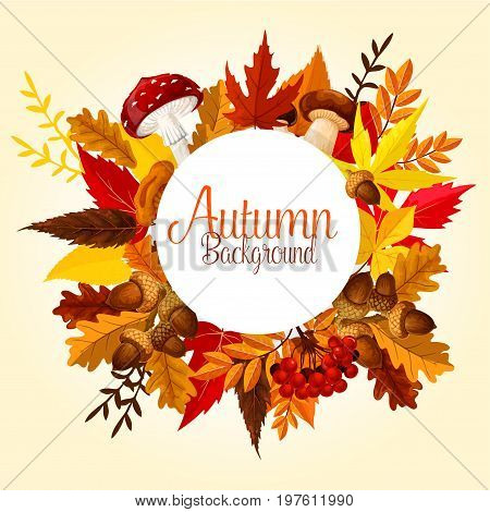 Autumn leaf, mushroom and forest berry poster. Fallen leaves of maple, oak and chestnut with acorn branch, cep mushroom, fly agaric, chanterelle and red rowanberry fruit for fall season design