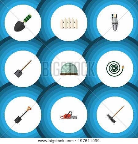 Flat Icon Dacha Set Of Shovel, Hosepipe, Pump And Other Vector Objects