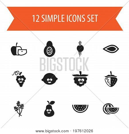Set Of 12 Editable Food Icons. Includes Symbols Such As Sweet Fruit, Comic Blackberry, Amygdalaceous And More