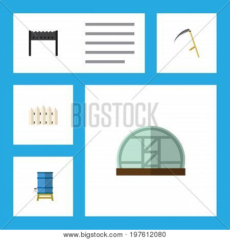 Flat Icon Dacha Set Of Hothouse, Cutter, Wooden Barrier And Other Vector Objects