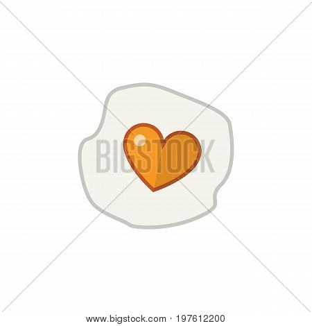 Scrambled Vector Element Can Be Used For Heart, Egg, Scrambled Design Concept.  Isolated Fried Egg Flat Icon.