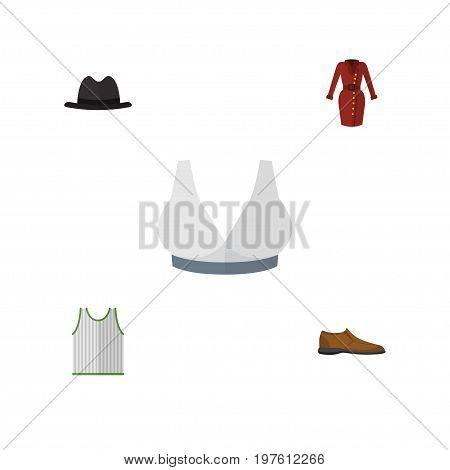 Flat Icon Garment Set Of Male Footware, Panama, Brasserie And Other Vector Objects