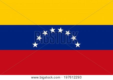 Flag design. Venezuelan flag on the white background isolated flat layout for your designs. Vector illustration.