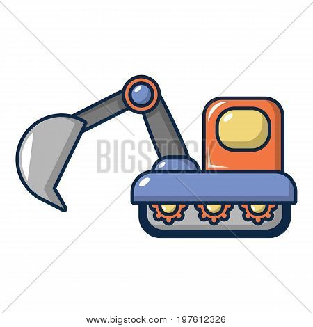 Excavator icon. Cartoon illustration of excavator vector icon for web design
