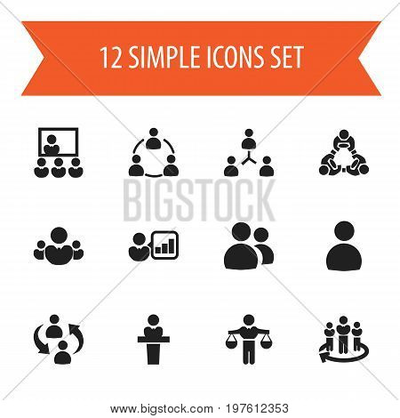 Set Of 12 Editable Business Icons. Includes Symbols Such As Friendship, Unity, Introducing And More