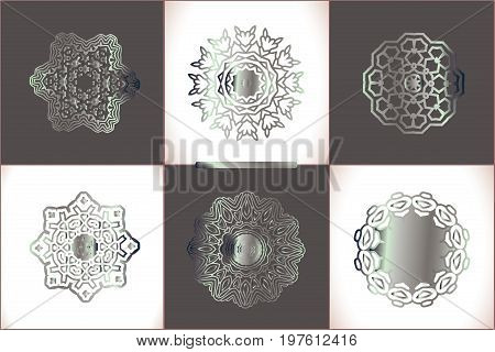 Floral Luxury Ornamental  Silver Pattern Template.