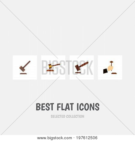 Flat Icon Hammer Set Of Justice, Hammer, Law And Other Vector Objects