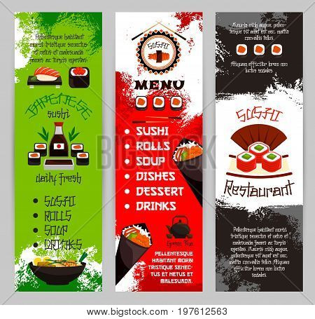 Sushi bar menu banners set for Japanese seafood restaurant cuisine. Vector template of sushi rolls, salmon fish maki or noodle or miso soup and tuna sashimi, tempura shrimp prawn in rice and soy sauce