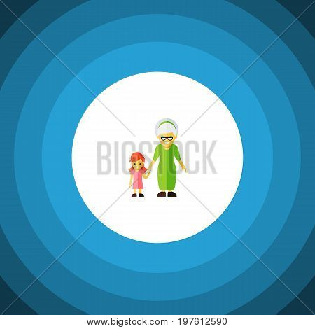Grandchild Vector Element Can Be Used For Grandma, Family, Grandchild Design Concept.  Isolated Grandma Flat Icon.