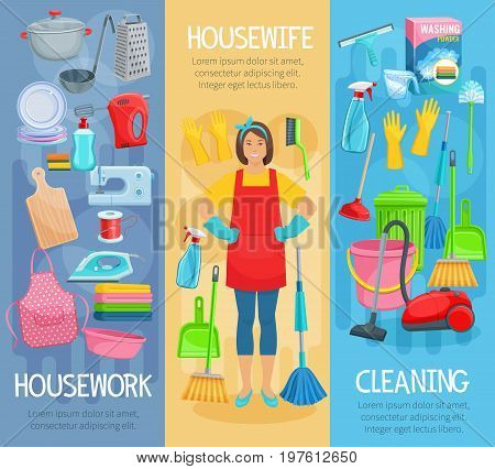 Housewife at housework banners set for home cleaning, washing and cooking. Vector kitchenware washer, vacuum cleaner, mopping sponge and glass cleaner or garbage bin and detergent or sewing machine