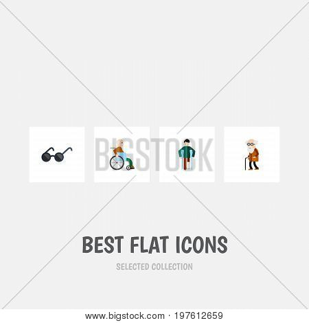 Flat Icon Disabled Set Of Injured, Handicapped Man, Ancestor Vector Objects