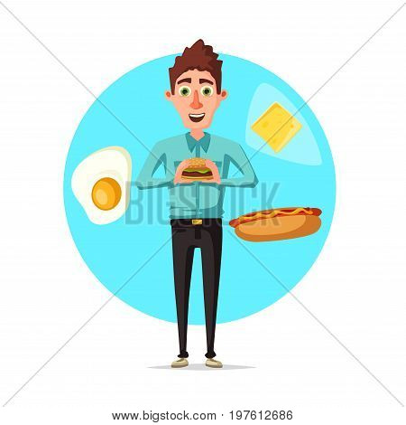 Man holding cheeseburger or fast food sandwich for breakfast or fastfood lunch. Vector flat icon of manager or office worker eating meals of hot dog, fried egg and cheese at break