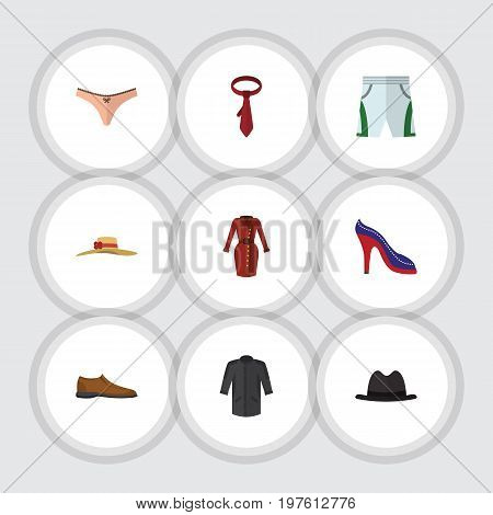 Flat Icon Clothes Set Of Male Footware, Lingerie, Heeled Shoe And Other Vector Objects