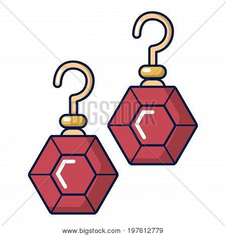 Earrings with rubies icon. Cartoon illustration of earrings with rubies vector icon for web design