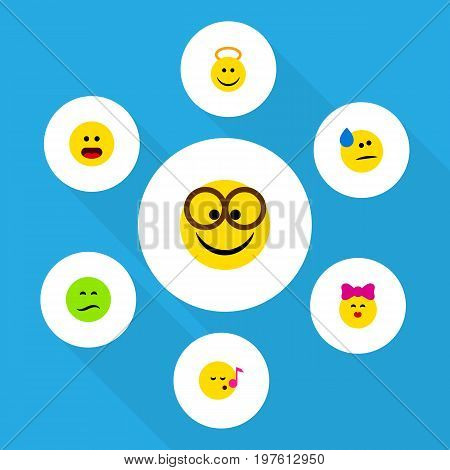 Flat Icon Emoji Set Of Frown, Angel, Descant And Other Vector Objects